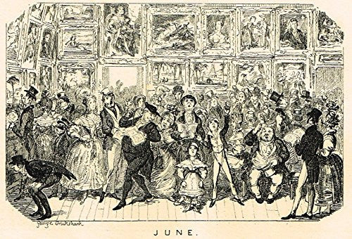 "Cruikshank's Almanack - ""JUNE"" - Engraving - 1835"