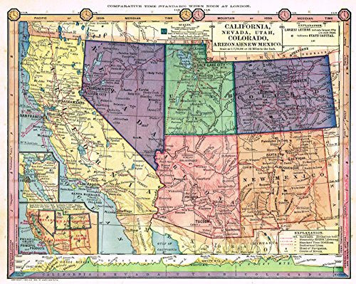 "Barnes's - ""CALIFORNIA, NEVADA, UTAH, COLORADO, ARIZONA & NEW MEXICO"" -1875"