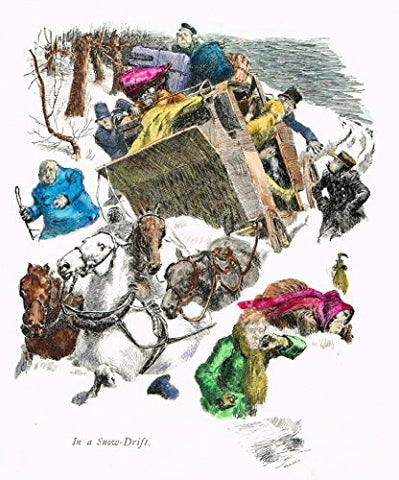 "Tristram's Coaching Ways - ""IN A SNOW DRIFT"" - Hand-Colored Lithograph - 1888"