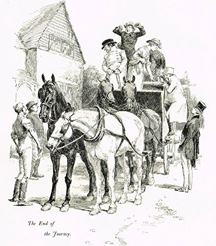 "Tristram's Coaching Ways - ""2 PRINTS - WAITING FOR COACH &  THE JOURNEY"" - Lithograph - 1888"