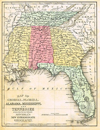 "Barnes's Geography - ""GEORGIA, FLORIDA, ALABAMA, MISSISSIPPI & TENNESSEE"" Map by Monteith -1875"