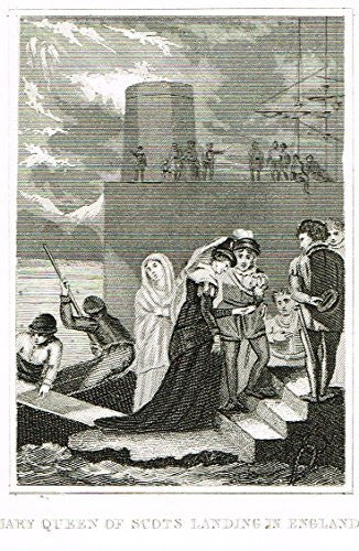 Miniature History of England - MARY QUEEN OF SCOTS LANDING IN ENGLAND - Copper Engraving - 1812