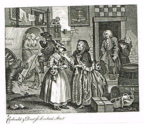 "Hogarth's Illustrated - ""THE HARLOT'S PROGRESS - PLATE I"" - Antique Engraving - 1807"