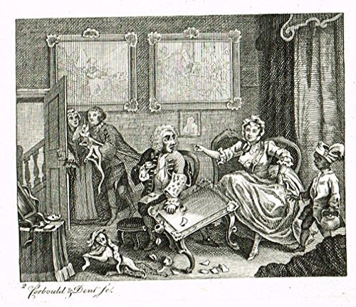 "Hogarth's Illustrated - ""THE HARLOT'S PROGRESS - PLATE II""  - Antique Engraving - 1807"