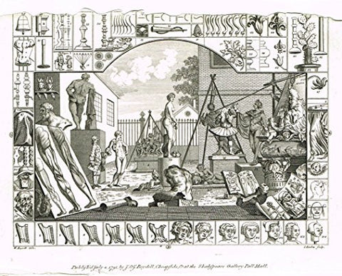 "Hogarth's Illustrated - ""ANALYSIS OF BEAUTY - PLATE II - (Damaged)"" - Engraving - 1793"