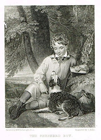 "Miniature Print - ""THE SHEPPERD BOY"" by Rolls - Steel Engraving - c1850"