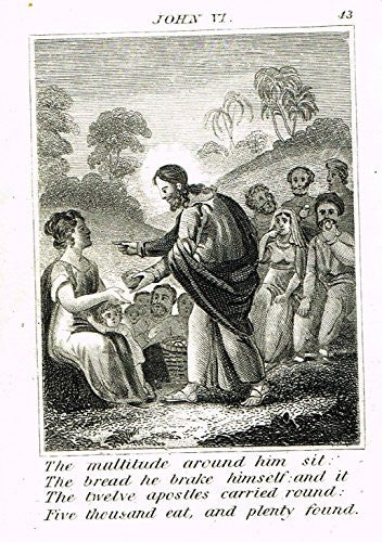 "Miller's Scripture History - ""JESUS FEEDS THE MULTITUDES"" - Small Religious Copper Engraving - 1839"