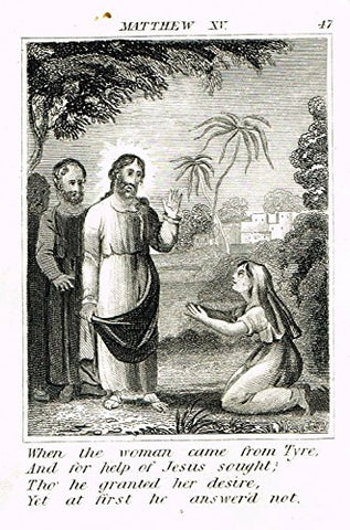"Miller's Scripture History - ""WOMAN FROM TYRE ASKES FOR FORGIVENESS"" -Copper Engraving - 1839"