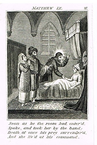"Miller's Scripture History - ""JESUS HEALS DYING WOMAN"" - Small Religious Copper Engraving - 1839"