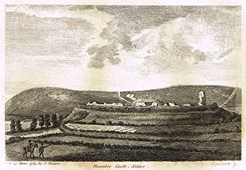 "Grose's Antiquities of England - ""BRAMBER CASTLE, SUSSEX"" - Copper Engraving - c1885"