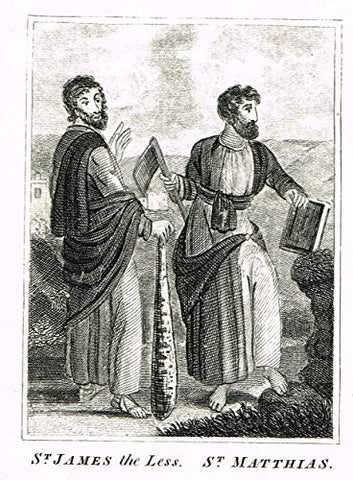 "Miller's Scripture History - ""ST. JAMES the LESS & ST. MATTHIAS"" - Copper Engraving - 1839"