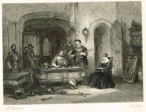 "Cattermole's 'Haddon Hall' - ""ARMING YOUNG KNIGHT"" - Miniature Steel Engraving - 1860"