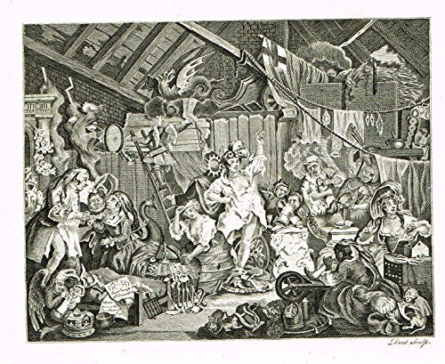 "Hogarth's Illustrated - ""STROLLING ACTRESSES DRESSING IN A BARN"" - Antique Engraving - 1793"