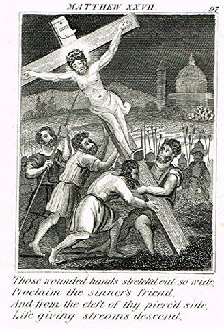 "Miller's Scripture History - ""THE CROSS BEING RAISED"" - Small Religious Copper Engraving - 1839"