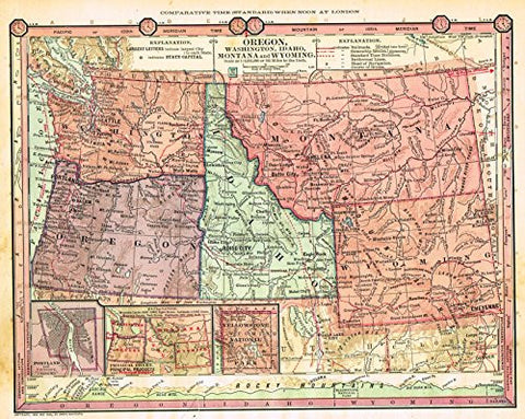 "Barnes's Geography - ""OREGON, WASHINGRON, IDAHO, MONTANA & WYOMING"" Map by Monteith -1875"