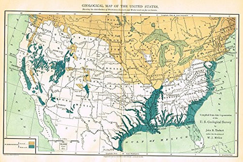"Johnson's Cyclopedia - ""GEOLOGICAL MAP OF THE UNITED STATES"" - Hand-Colored Litho - 1896"