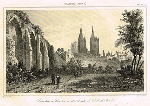 "Bas's Encyclopedique - ""AQUEDUCS COUTAMES ET ABSIDE DE LA CATHEDRALE"" - Engraving - 1841"