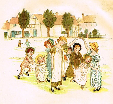 Kate Greenaway's Little Ann - THE VILLAGE GREEN - Chromolithograph - 1883