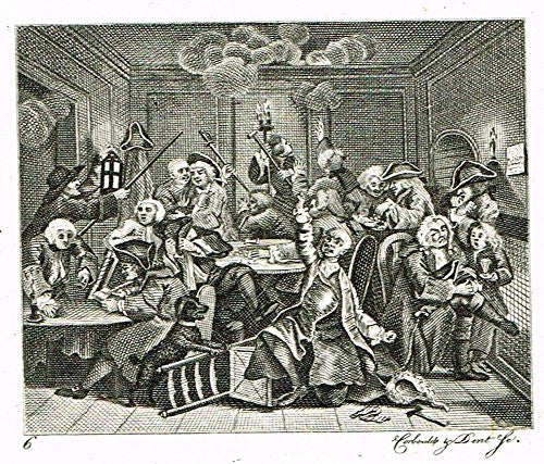 "Hogarth's Illustrated - ""THE RAKE'S PROGRESS - PL 6"" - Antique Engraving - 1813"