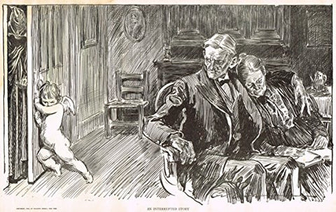 "The Gibson Book - ""AN INTERRUPTED STORY"" - Lithographic Sketch - 1907"