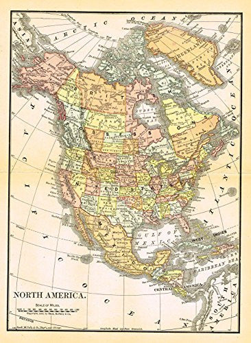 Rand McNally Map - NORTH AMERICA - Chromolithograph - 1903