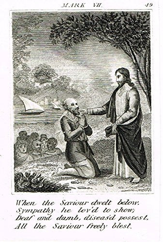 "Miller's Scripture History - ""JESUS HEALED THE DEAF AND DUMB MAN"" - Copper Engraving - 1839"