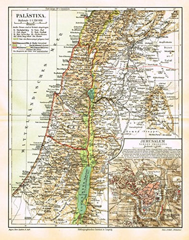 "Meyers' Lexicon Map - ""PALESTINE"" - Chromolithograph - 1913"