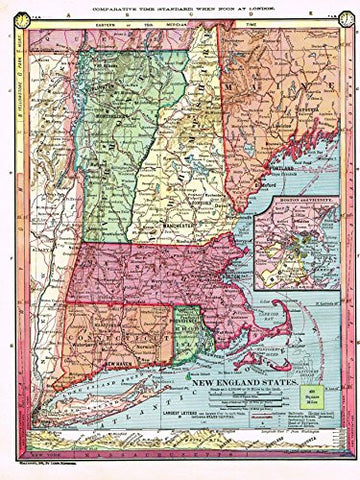 "Barnes's Geography - ""NEW ENGLAND STATES"" Map by Monteith -1875"