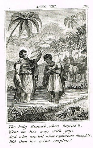 "Miller's Scripture History - ""THE HOLY EUNUCH BAPTISED"" - Small Religious Copper Engraving - 1839"