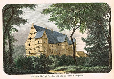 Foreign Buildings - DET STORE HUS PA BORREBY - Hand-Colored Engraving - c1890