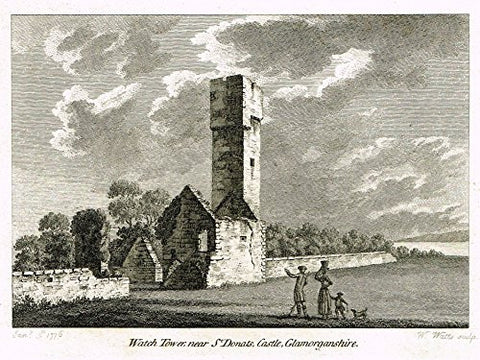 "British Ruins - ""WATCH TOWER NEAR ST. DONATS, GLAMORGANSHIRE"" - Copper Eng. - 1776"