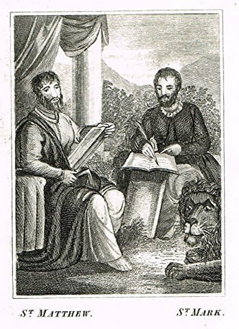 "Miller's Scripture History - ""ST. MATTEW & ST. MARK"" - Small Religious Copper Engraving - 1839"