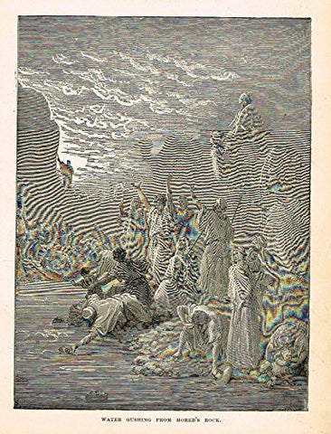 "Buel's Beautiful Story - ""WATER GUSHING FROM HOREB'S ROCK"" - Woodcut - 1887"