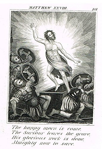 "Miller's Scripture History - ""JESUS IS RAISED FROM THE DEAD"" - Copper Engraving - 1839"