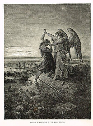 "Buel's Beautiful Story - ""JACOB WRESTLING WITH THE ANGEL"" - Woodcut - 1887"