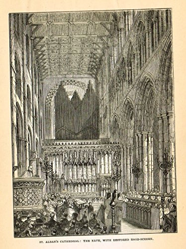 Our National Cathedrals - ST. ALBAN'S CATHEDRAL - Wood Engraving - 1887