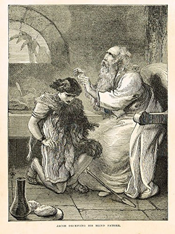"Buel's Beautiful Story - ""JACOB DECEIVING HIS BLIND FATHER"" - Woodcut - 1887"
