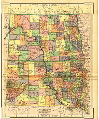 "Barnes's Geography - ""NORTH DAKOTA & SOUTH DAKOTA"" Map by Monteith -1875"