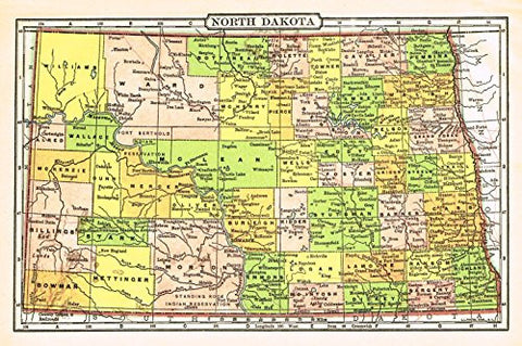 Johnson's Universal Cyclopaedia - NORTH DAKOTA - Chromolithograph - 1895