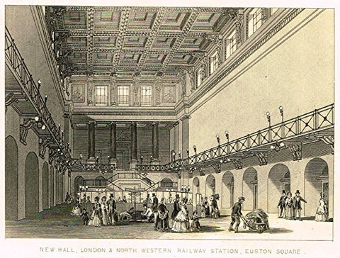 "Tallis's Illustrated London - ""NEW HALL RAILWAY STATION, EUSTON SQUARE"" - Steel Engraving - 1851"