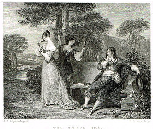Miniature Print - THE SNUFF BOX by Robinson - Steel Engraving - c1850