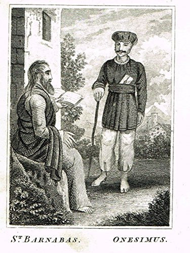 "Miller's Scripture History - ""ST. BARNABAS & ONESIMUS"" - Small Religious Copper Engraving - 1839"