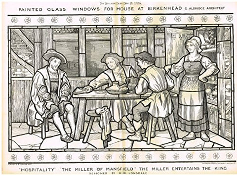 "Building News' - ""BIRKENHEAD STAINED GLASS HOSPITALITY"" - Large Lithograph - 1885"