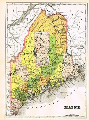 "Johnson's Universal Cyclopedia - ""MAINE"" - Hand-Colored Lithograph - 1896"