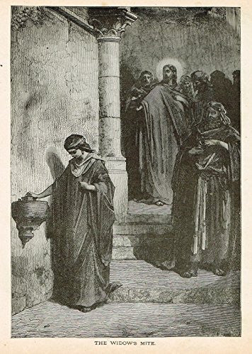 Gustave Dore's Illustration - THE WIDOW'S MITE - Woodcut - c1880