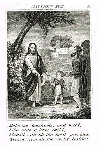 "Miller's Scripture History - ""JESUS TEACHES LITTLE CHILD"" - Small Religious Copper Engraving - 1839"