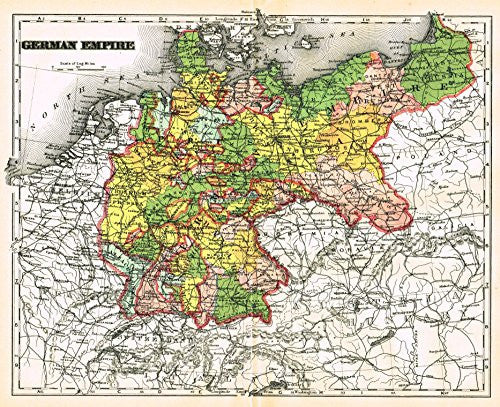 "Johnson's Universal Cyclopedia - ""GERMAN EMPIRE"" - Hand-Colored Lithograph - 1896"