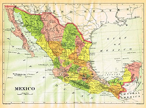 Johnson's Universal Cyclopaedia - MEXICO - Chromolithograph - 1895