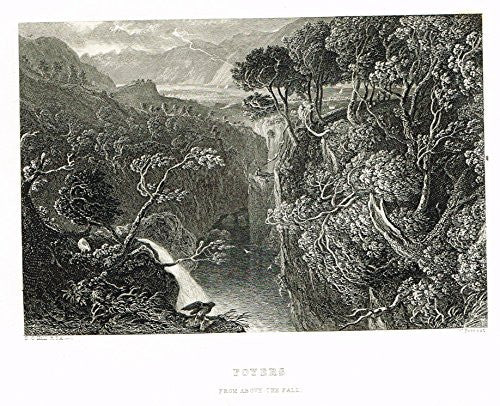 "Scotish Robert Burns Topographicals - ""FOYERS - ABOVE THE FALL"" - Steel Engraving - 1875"