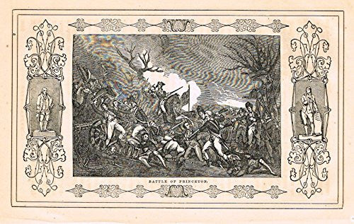 "Frost's 'The American Generals' - ""BATTLE OF PRINCETON"" - Woodcut - 1848"